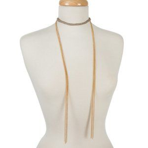 Boutique | Gray and gold wrap necklace